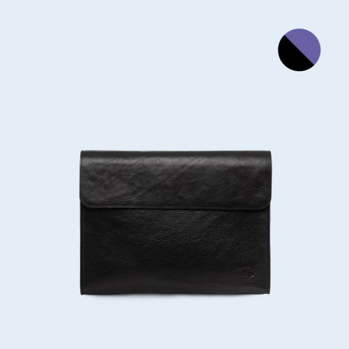 Leather Document Bag - SLOW Act black/sapphire