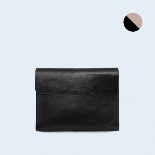 Leather Document Bag - SLOW Act black/grey