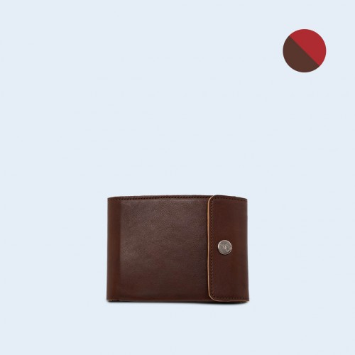 Men's leather wallet - SLOW Coin Wallet brown/red