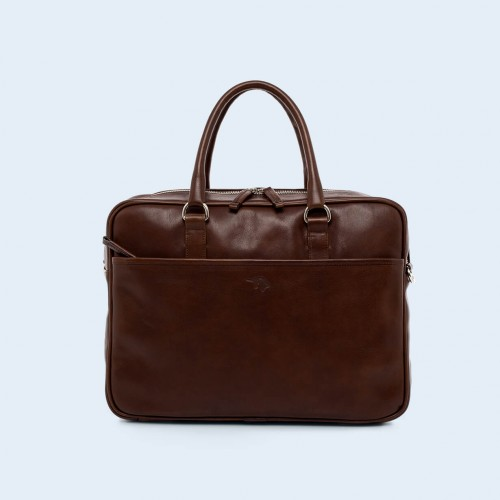Leather business briefcase- Nonconformist Due brown