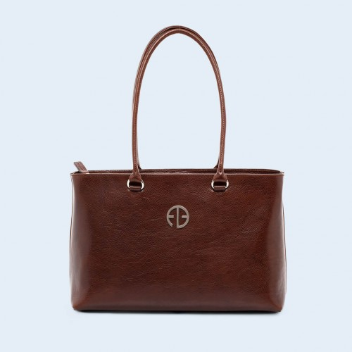 Leather women's handbag - ADAM BARON Home 03 chestnut brown