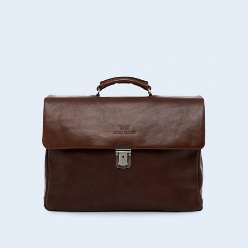 Leather business bag- Verity Executive brown