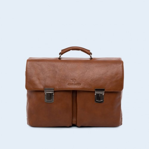 Leather business briefcase- Nonconformist Double cognac