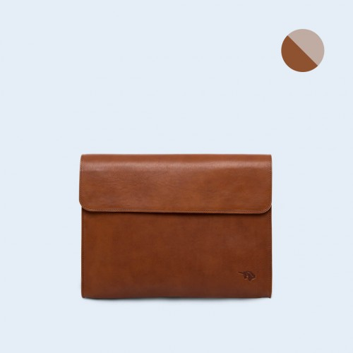 Leather Document Bag- SLOW Act cognac/grey