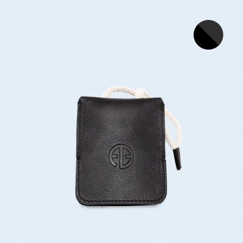 Leather key case - SLOW Key black/graphite