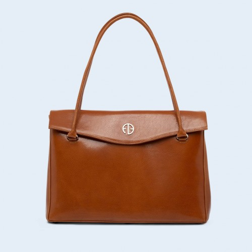 Leather women's handbag - ADAM BARON Home 01 large camel