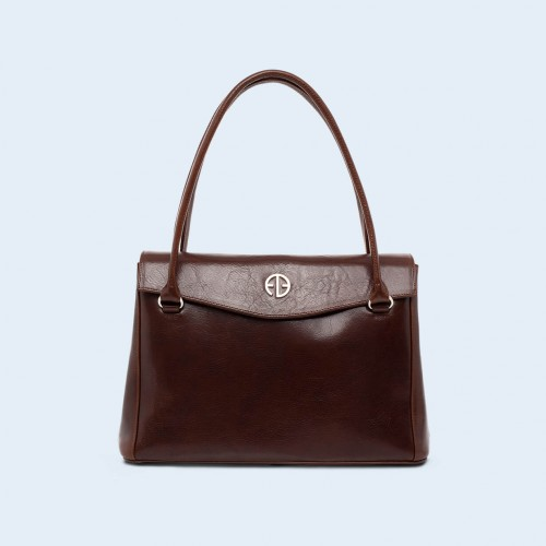 Leather women's handbag - ADAM BARON Home 01 midi chestnut brown