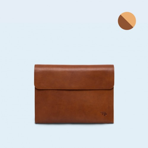 Leather Document Bag- SLOW Act cognac/camel
