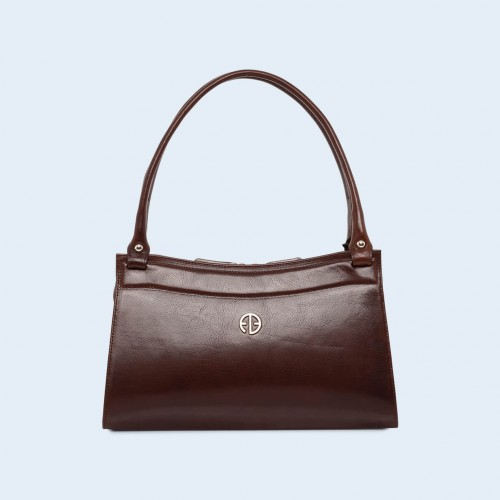 Women's leather handbag - ADAM BARON Home 06 chestnut brown