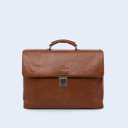 Leather business bag- Verity Executive cognac