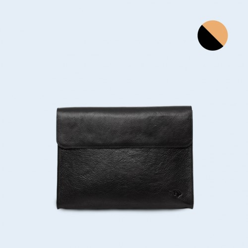 Leather Document Bag - SLOW Act black/camel