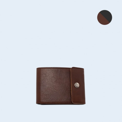 Men's leather wallet - SLOW Coin Wallet brown/grey (1)