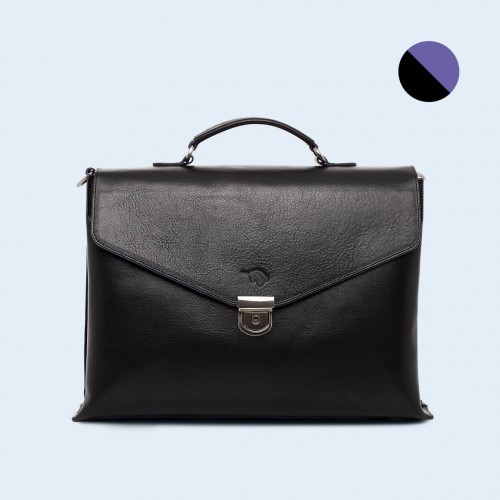 Leather business briefcase - SLOW Chief black/sapphire