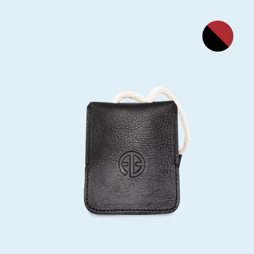 Leather key case- SLOW Key black/red