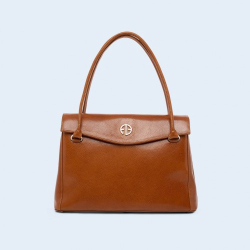 Leather women's handbag - ADAM BARON Home 01 midi camel