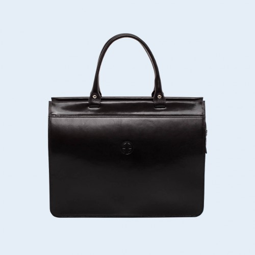 Women's leather briefcase - Verity Business 01 black