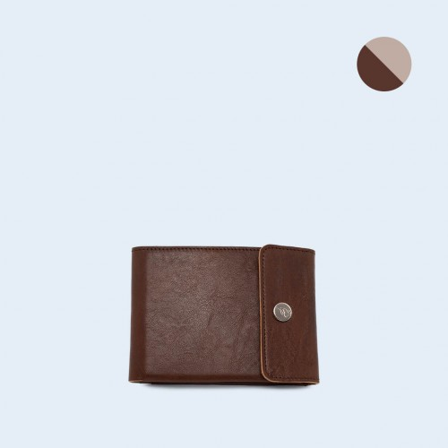 Men's leather wallet - SLOW Coin Wallet brown/grey