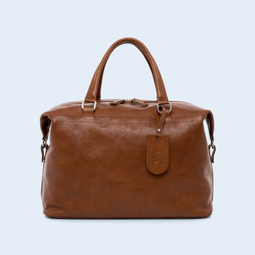 Leather travel bag - Verity Two Function big cognac
