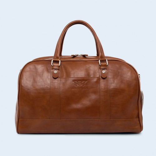 Leather travel bag - Verity Weekend cognac
