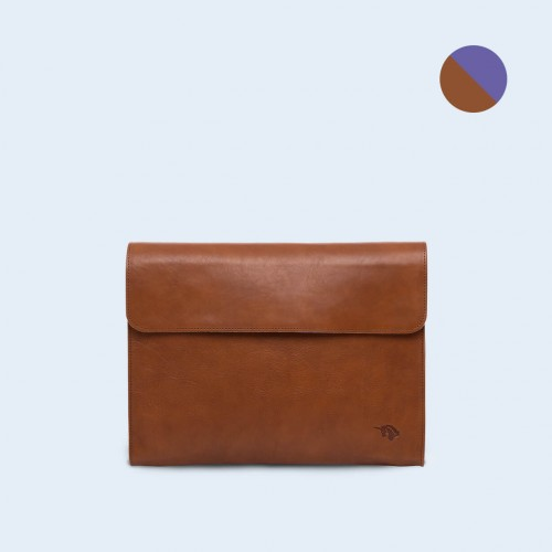 Leather Document Bag- SLOW Act cognac/sapphire