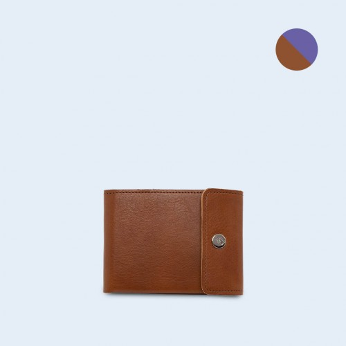 Men's leather wallet - SLOW Coin Wallet cognac/sapphire