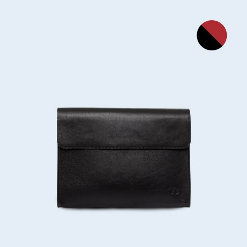 Leather Document Bag- SLOW Act black/red