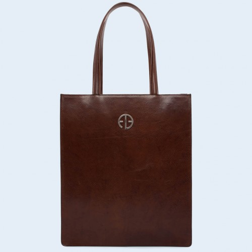 Leather women's handbag - Dare! day chestnut brown