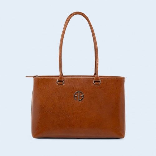Leather women's handbag - ADAM BARON Home 03 camel