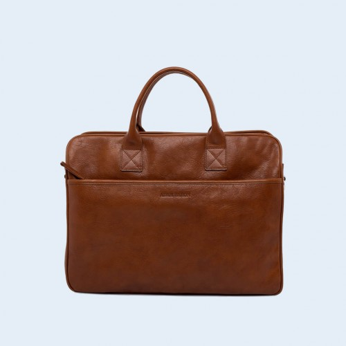 Leather business briefcase- Nonconformist Tre cognac
