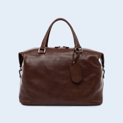 Leather travel bag - Verity Two Function big brown