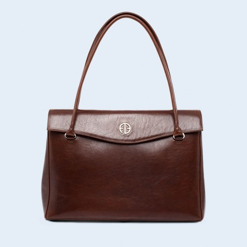 Leather women's handbag - ADAM BARON Home 01 large chestnut brown