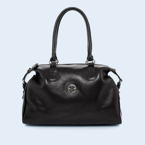 Leather handbag - Verity Bowler bag black
