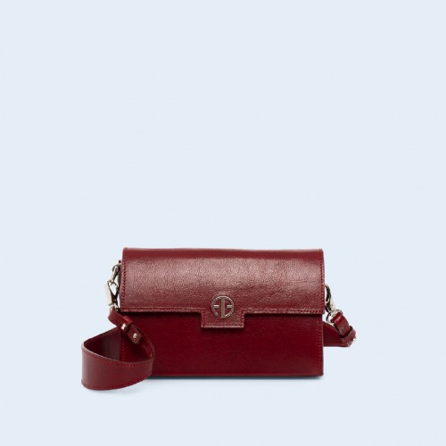 Leather bag - Verity mini crossbody cherry red