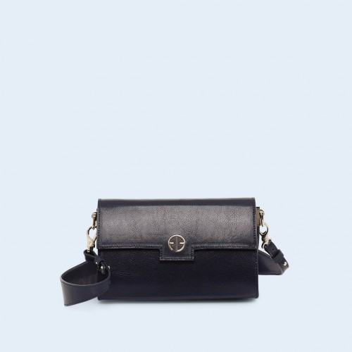 Leather bag - Verity mini crossbody navy blue