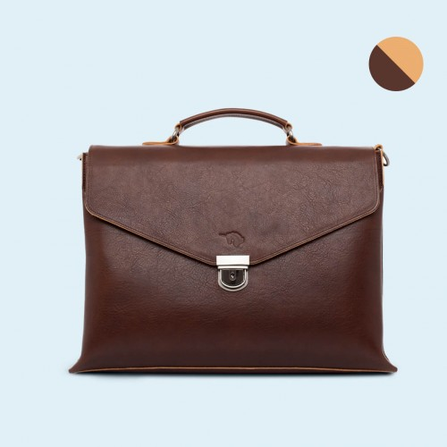 Leather business briefcase - SLOW Chief brown/camel