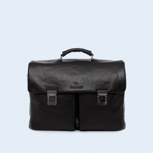 Leather business briefcase- Nonconformist Double black