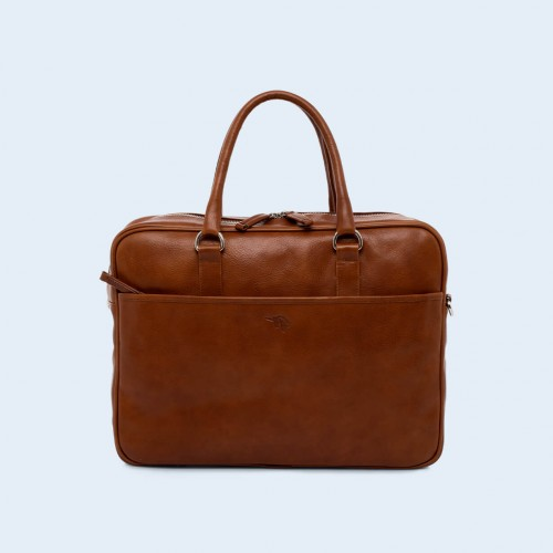 Leather business briefcase- Nonconformist Due cognac