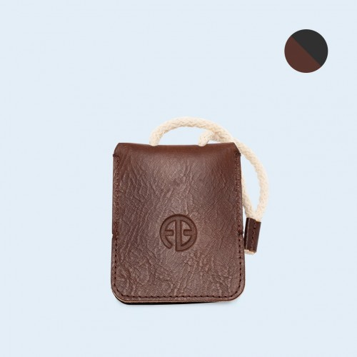 Leather key case - SLOW Key brown/graphite