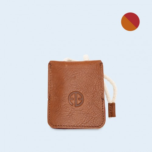 Leather key case - SLOW Key cognac/red