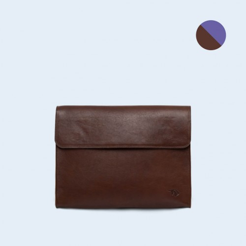 Leather Document Bag- SLOW Act brown/sapphire