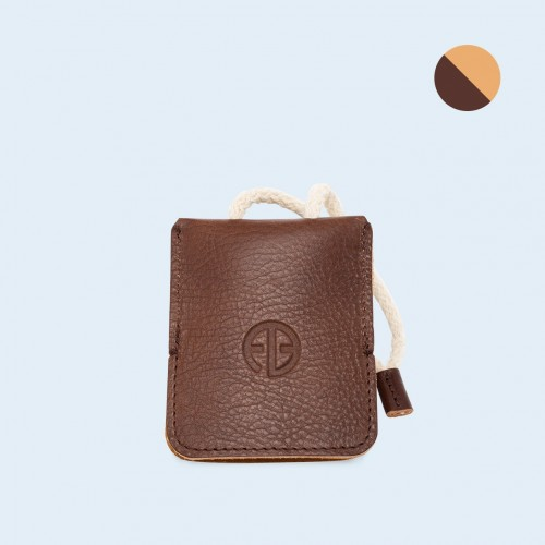 Leather key case - SLOW Key brown/camel