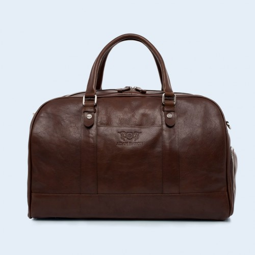 Leather travel bag - Verity Weekend brown