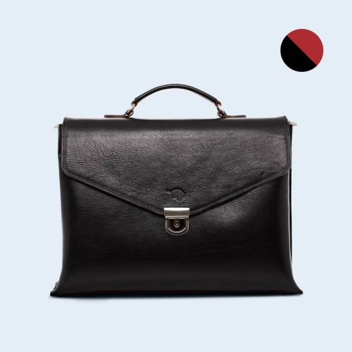 Leather business briefcase - SLOW Chief black/red