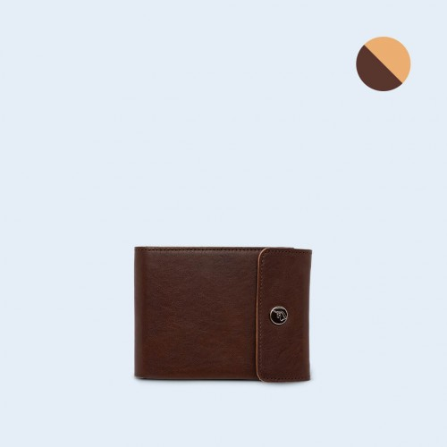Men's leather wallet - SLOW Coin Wallet brown/camel