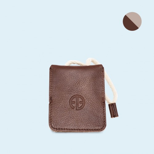 Leather key case - SLOW Key brown/grey