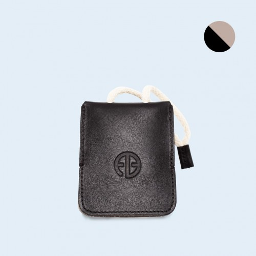 Leather key case - SLOW Key black/grey
