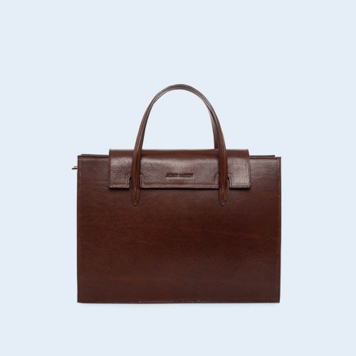 Leather women's handbag - ADAM BARON Home 05 chestnut brown