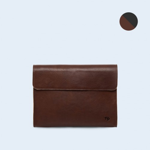 Leather Document Bag - SLOW Act brown/graphite