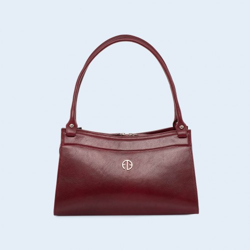 Women's leather handbag - ADAM BARON Home 06 burgundy