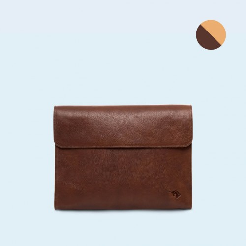 Leather Document Bag- SLOW Act brown/camel